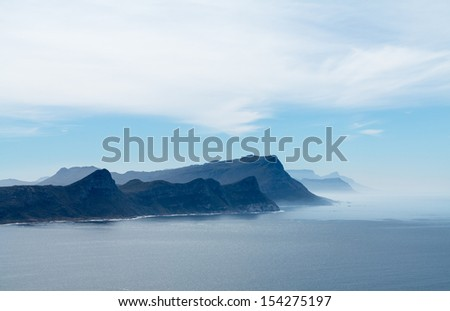 Rocky shoreline view from Cape Point near Cape Town South Africa - stock photo