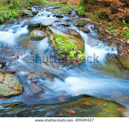 Rocky Stream, Running Through Autumn Mountain Forest. Two shots stitch image. - stock photo