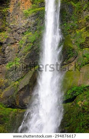 Rocky Waterfall at Columbia, Columbia Gorge - stock photo