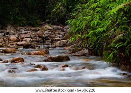 Rocky waterfall scenery at Chiling Waterfall in Malaysia. - stock photo