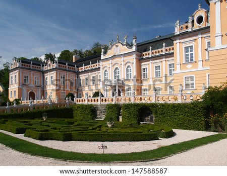 Rococo castle Nove Hrady with park, Czech republic - stock photo