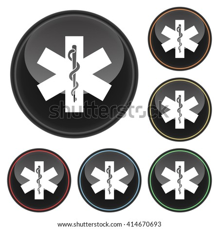 Rod of Asclepius Icon Glossy Button Icon Set in With Various Color Highlights.  Raster Version - stock photo