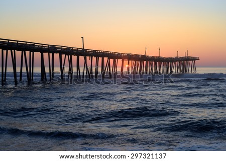 Rodanthe Fishing Pier at Sunrise in North Carolina - stock photo