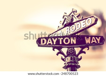 Rodeo Drive and Dayton Way Intersection in Beverly Hills, California, United States - stock photo