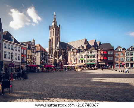 Roermond, Netherlands-september 12, 2014: Day view of market square, it is popular touristic place, it is lined with cafes, restaurants and shops on september 12, 2014  - stock photo