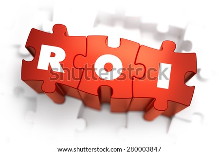 ROI - Return of Investment - White Word on Red Puzzles on White Background. 3D Render.  - stock photo