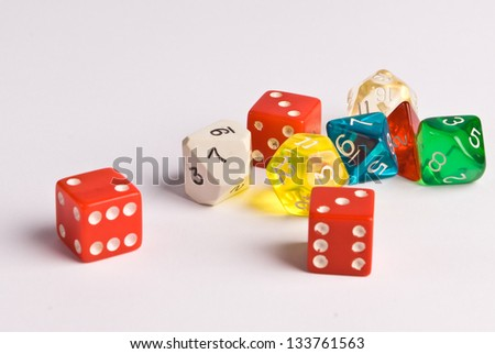 Role Play Dice on a white table top - stock photo