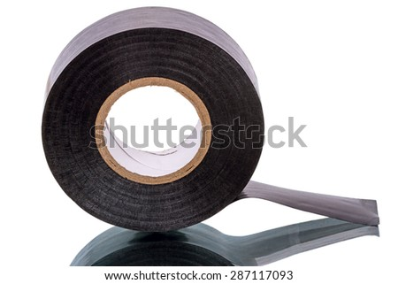 Roll of black Insulating Tape isolated on a white background - stock photo