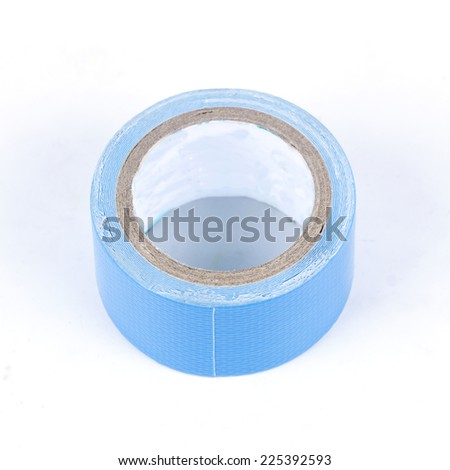 roll of blue painters tape Isolated on white background - stock photo