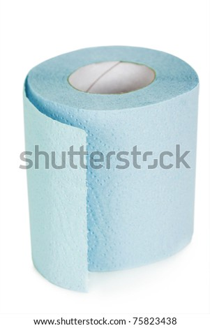 roll of blue toilet paper isolated - stock photo