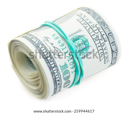 roll of dollars  isolated on white background - stock photo