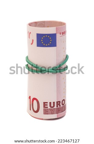 Roll of euro banknotes isolated over white background  - stock photo