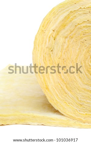 Roll of fiberglass insulation material, isolated on white background. - stock photo