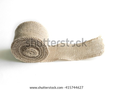 Roll of jute sack for hand craft - stock photo