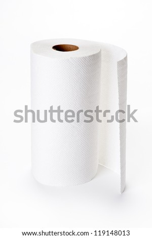 roll of kitchen paper on white - stock photo