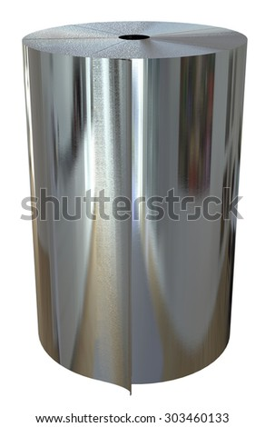 Roll of metal foil isolated on white - stock photo