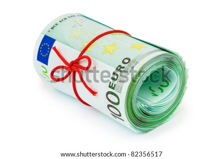Roll of money and bow isolated on white background - stock photo