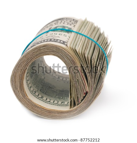 Roll of money- cash of US dollars isolated on white background - stock photo