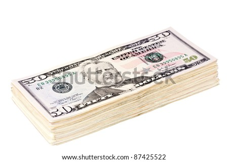 Roll of money of 50 dollars isolated on white - stock photo