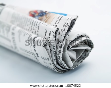 Roll of newspaper - stock photo