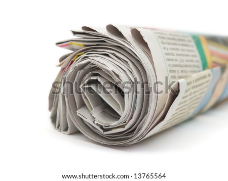 Roll of newspapers isolated on white background - stock photo