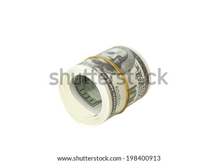 Roll of One Hundred Dollar Bills isolated on white - stock photo