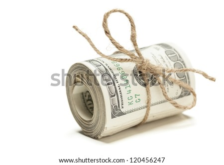 Roll of One Hundred Dollar Bills Tied in Burlap String Isolated on a White Background. - stock photo