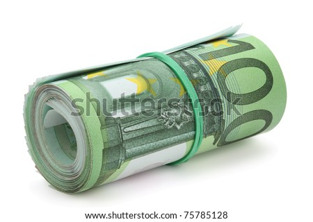 Roll of one hundred euro banknotes with a rubber band, isolated on the white background, clipping path included. Full focus. - stock photo