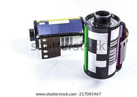 Roll Of Photographic Film - 35 mm film - stock photo