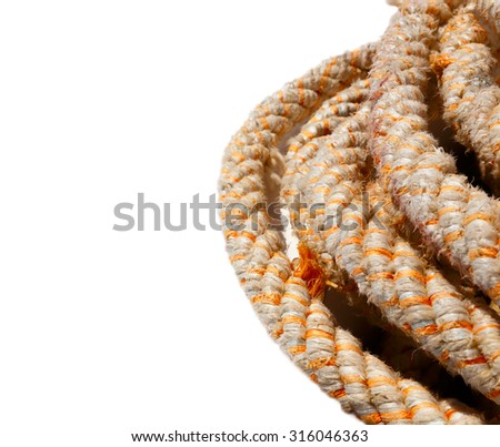 roll of rope isolated on white backgrond - stock photo