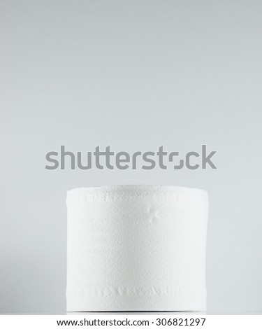 roll of toilet paper isolated - stock photo