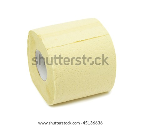Roll of toilet paper, isolated on a white background - stock photo