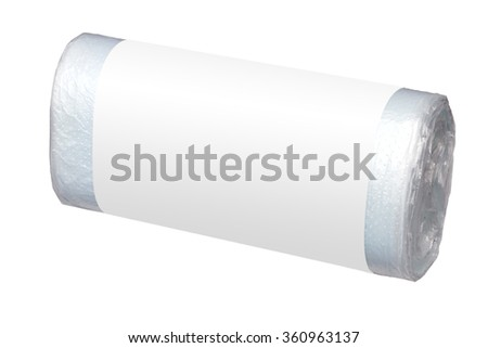 Roll of withe plastic garbage bags - isolated on white - stock photo