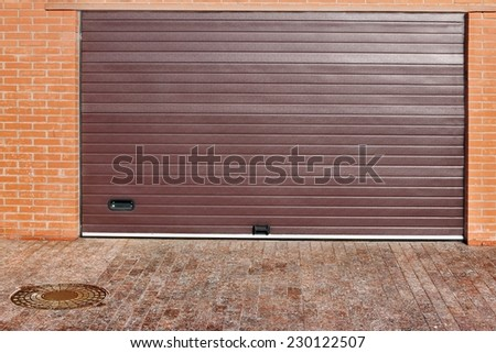 Roll Up Automatic Garage Gate Background - stock photo