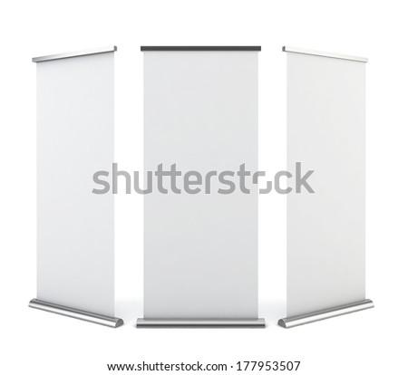 Roll up banner. 3d illustration on white background  - stock photo