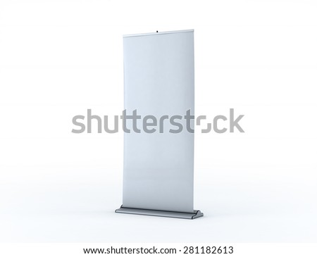 Roll up banner on white background - stock photo