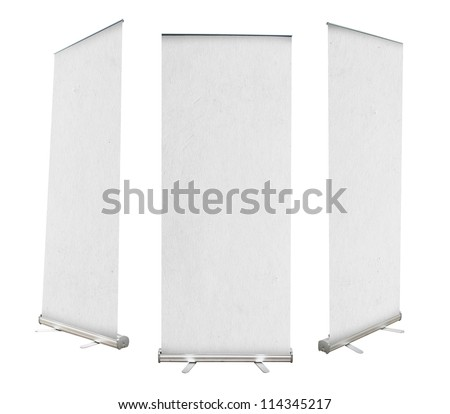 Roll up banner with paper canvas texture, isolated on white background (Save Paths For design work) - stock photo