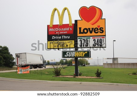 ROLLA, MISSOURI - SEPT 11: Love's Travel Center with McDonald's and Subway Signs on September, 11 2008 in Rolla, Missouri. Love's Stops were founded in 1964, with over 280 current locations. - stock photo