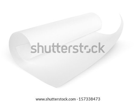 Rolled blank sheet of paper isolated on white with clipping path - stock photo