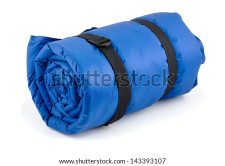 Rolled blue inflatable camping bed isolated on white - stock photo