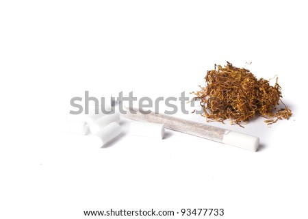rolled cigarette with filters and tobacco isolated on white - stock photo