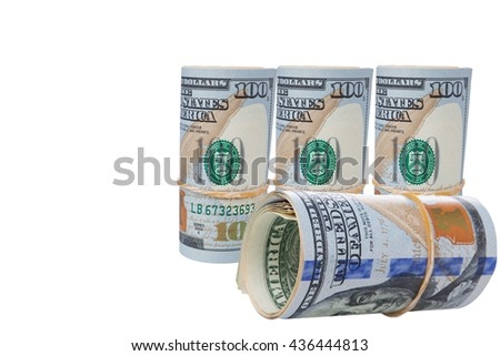 Rolled $100 dollar bills and isolated on white background and have clipping path. - stock photo