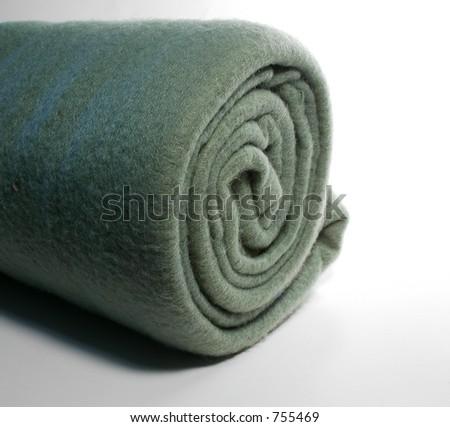 Rolled Fleece, green - stock photo