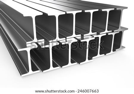 rolled metal H-beam isolated on white background - stock photo