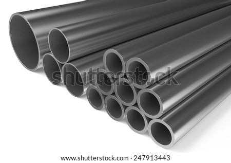 rolled metal,pipes isolated on white background - stock photo