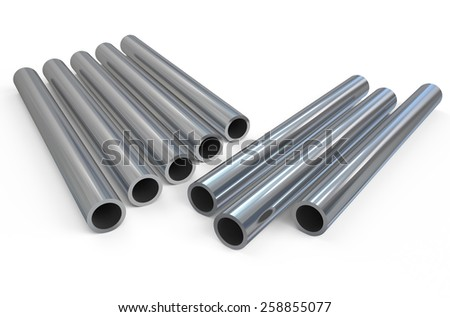 rolled metal, pipes isolated on white background - stock photo