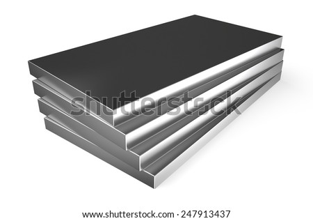 rolled metal, sheets isolated on white background - stock photo