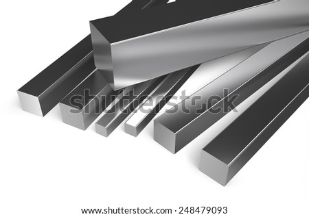 rolled metal, square stock isolated on white background - stock photo