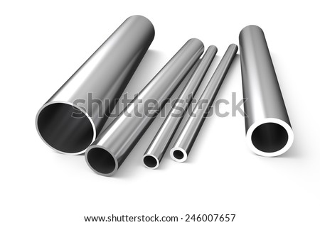 rolled metal, tube isolated on white background - stock photo