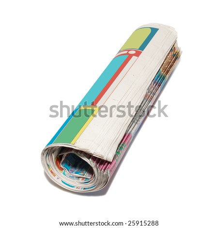 Rolled newspapers isolated on white. - stock photo